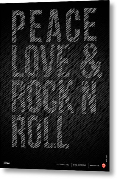 Peace Love And Rock N Roll Poster Metal Print