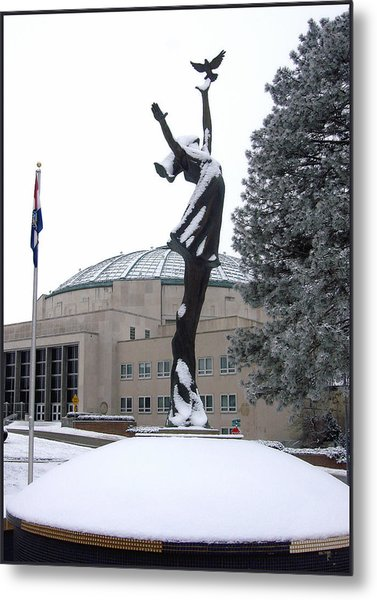 Peace Statue In Winter Metal Print