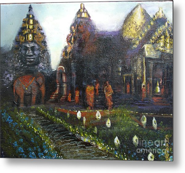 Peaceful Moment In Ankur Wat Metal Print