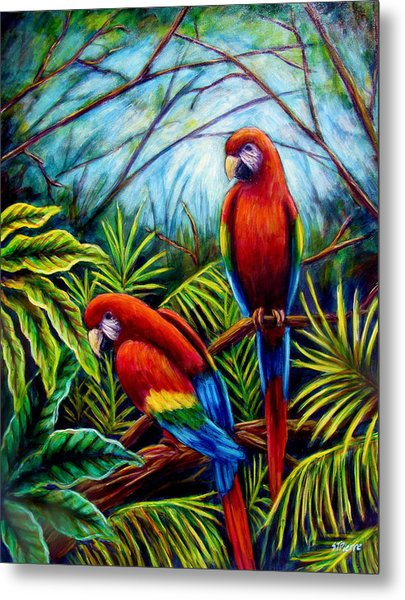 Peaceful Parrots Metal Print by Sebastian Pierre