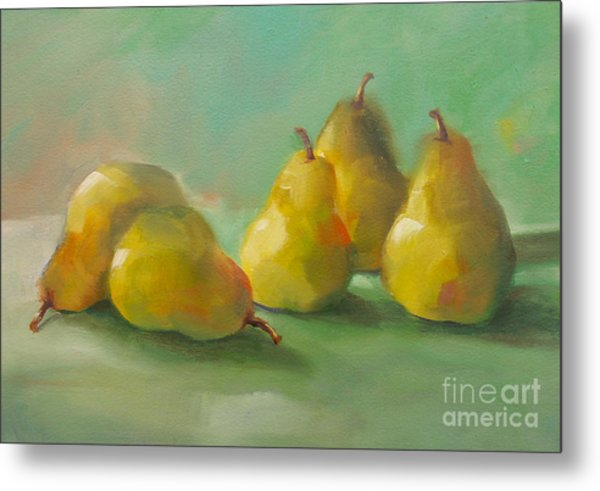 Peaceful Pears Metal Print