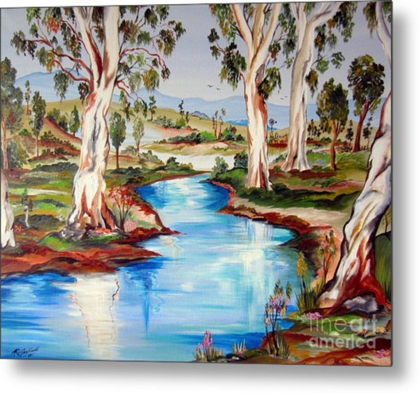 Peaceful River In The Australian Outback Metal Print