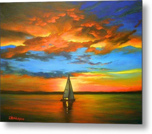 Peaceful Sailing Metal Print