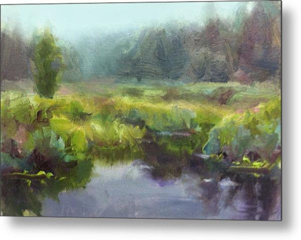Peaceful Waters Impressionistic Landscape  Metal Print