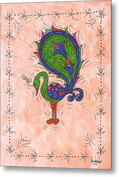 Peachy Peacock Metal Print