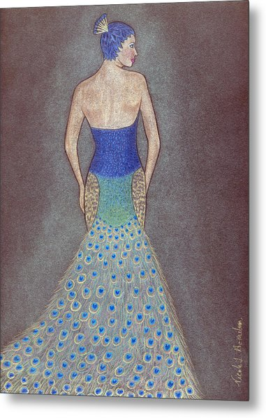 Peacock Fashion Inspiration Metal Print by Nicole I Hamilton