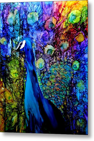 Peacock II Metal Print by Karen Walker
