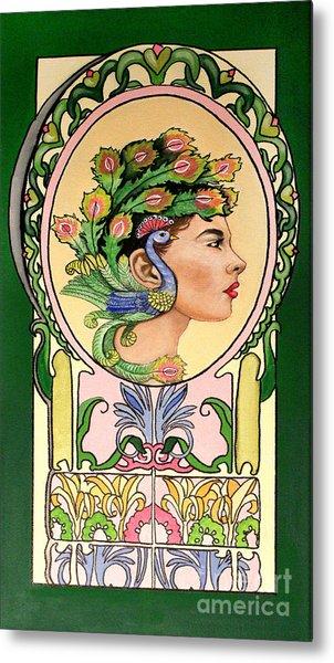 Peacock Lady Metal Print
