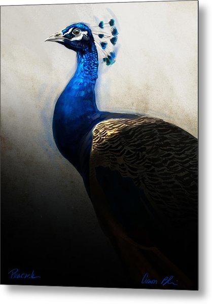 Peacock Portrait Metal Print