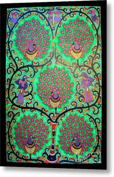 Peacocks-madhubani Painting Metal Print
