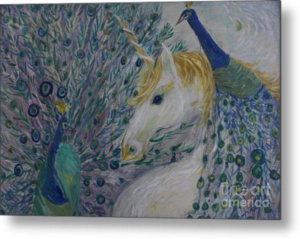 Peacocks With Unicorn Metal Print