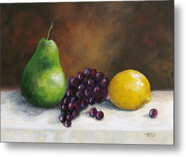 Pear Study With Lemon Metal Print