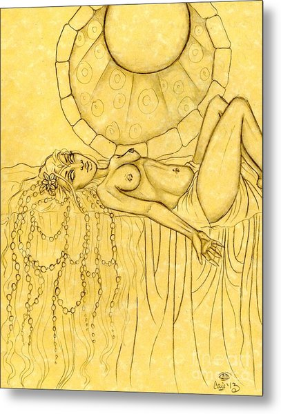 Pearls Entwined In Her Hair Sketch Metal Print by Coriander  Shea