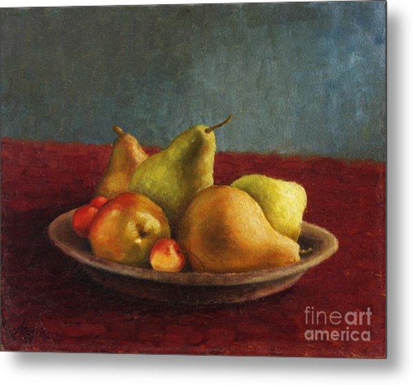 Pears And Cherries Metal Print