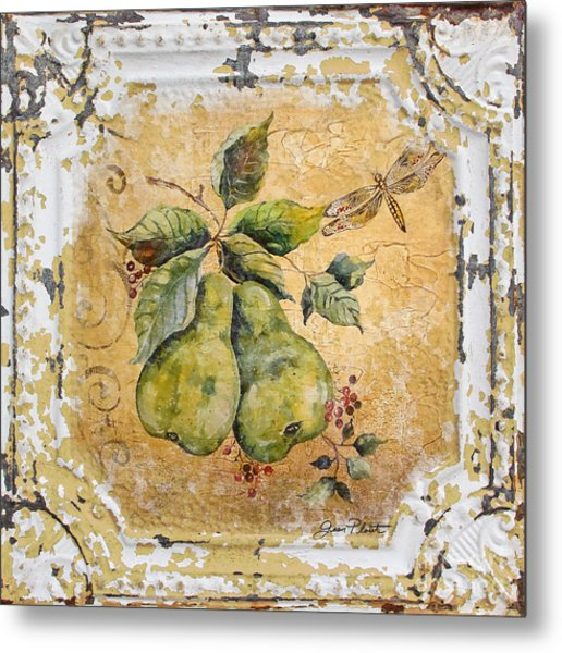 Pears And Dragonfly On Vintage Tin Metal Print