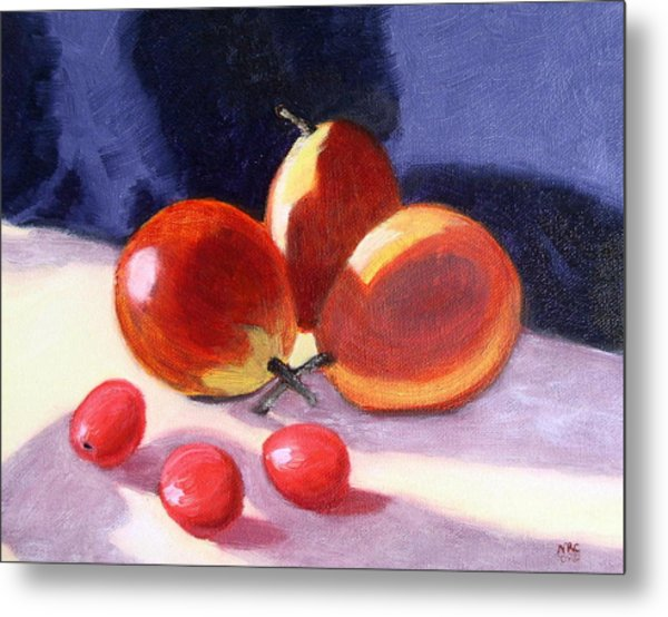 Pears And Grapes Metal Print