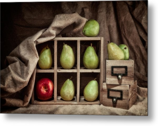 Pears On Display Still Life Metal Print