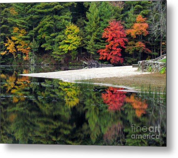 Peck Pond Autumn Reflections Ix Metal Print