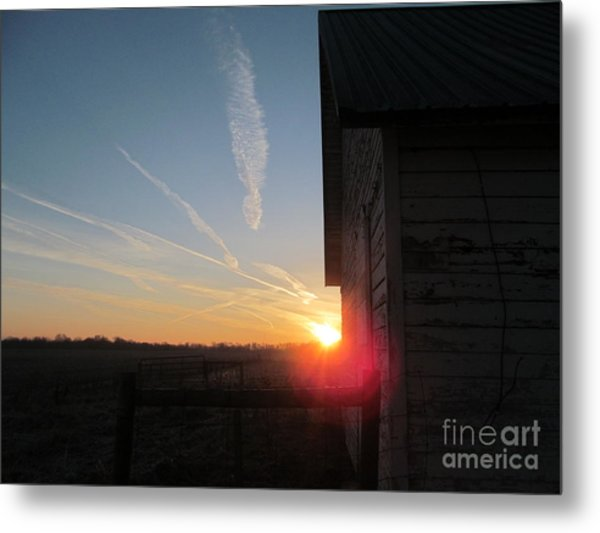 Peeking Through The Barn Sunrise Metal Print