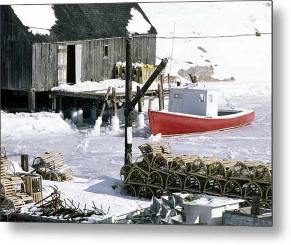 Peggy's Cove Nova Scotia Canada In Winter Metal Print
