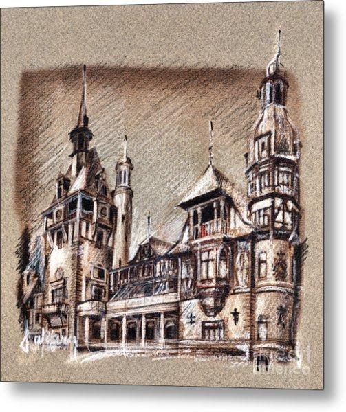 Peles Castle Romania Drawing Metal Print