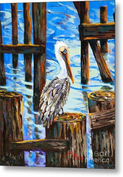 Pelican And Pilings Metal Print