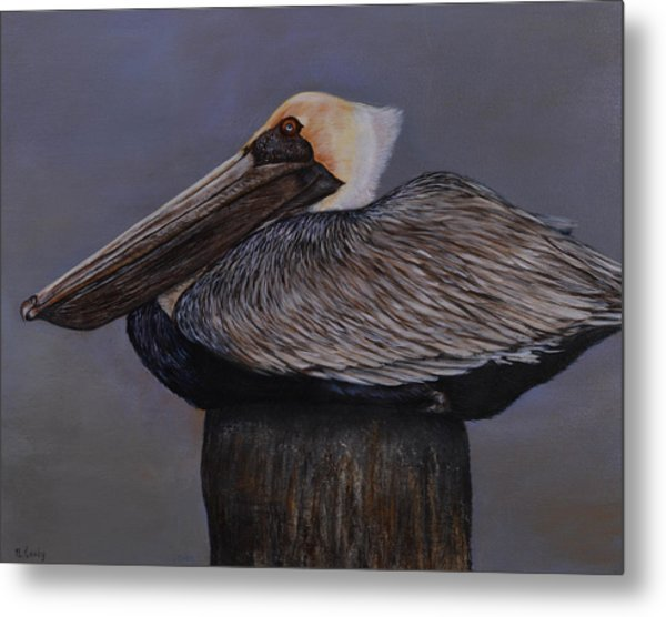Pelican At The Pier Metal Print