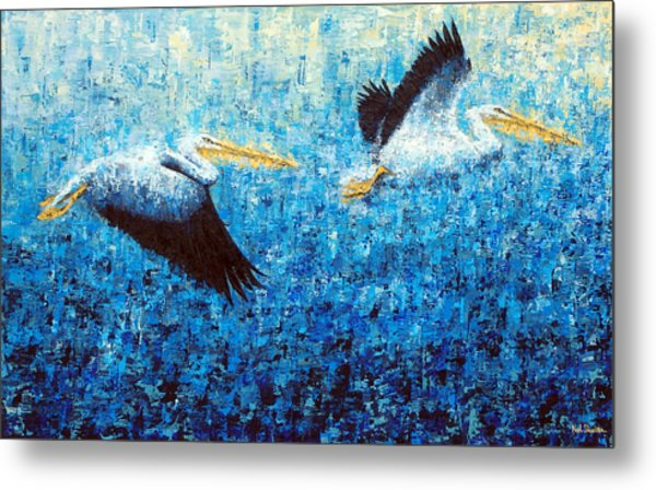 Pelicans 2 Metal Print by Ned Shuchter
