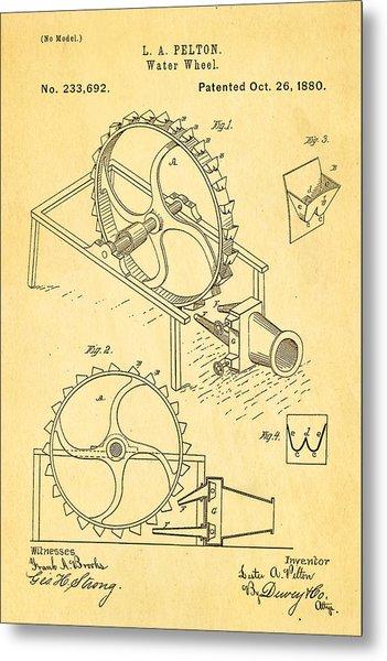 Pelton Water Wheel Patent Art 1880 Metal Print