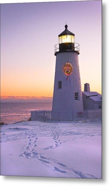 Pemaquid Point Lighthouse Christmas Snow Wreath Maine Metal Print