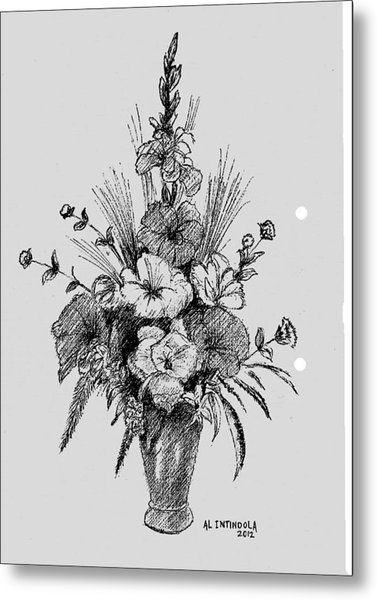 Pen And Ink Flowers Metal Print
