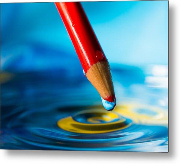 Pencil Water Drop Metal Print