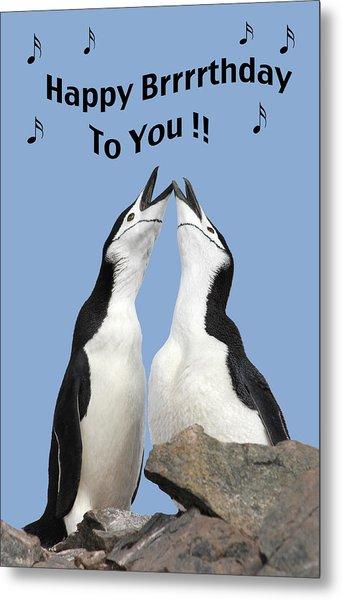 Penguin Birthday Card Metal Print