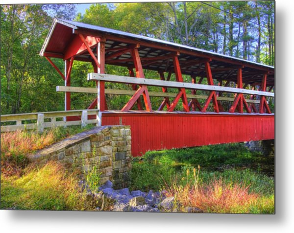 Pennsylvania Country Roads - Colvin Covered Bridge Over Shawnee Creek - Autumn Bedford County Metal Print