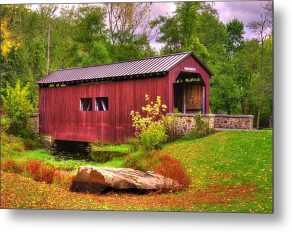 Pennsylvania Country Roads - Everhart Covered Bridge At Fort Hunter - Harrisburg Dauphin County Metal Print