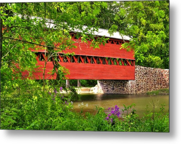 Pennsylvania Country Roads - Sachs Covered Bridge Over Marsh Creek-3b - Shade Of Spring Adams County Metal Print