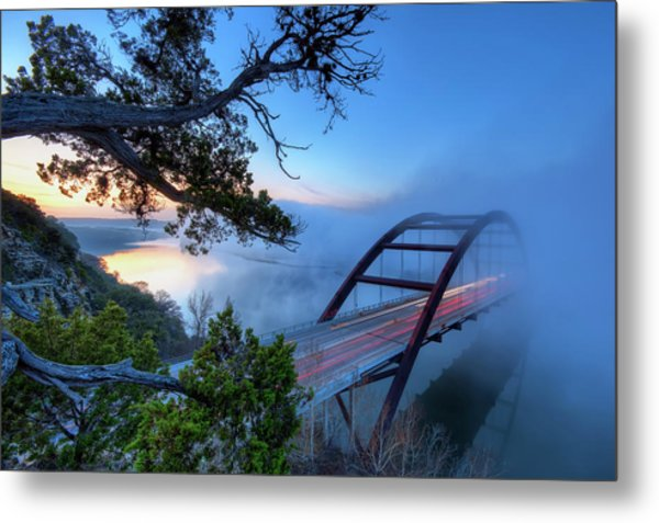Pennybacker Bridge In Morning Fog Metal Print