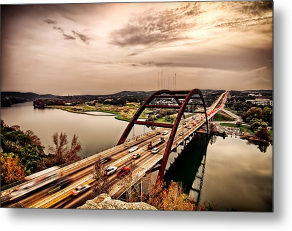 Metal Print featuring the photograph Pennybacker Bridge Sunset by John Maffei
