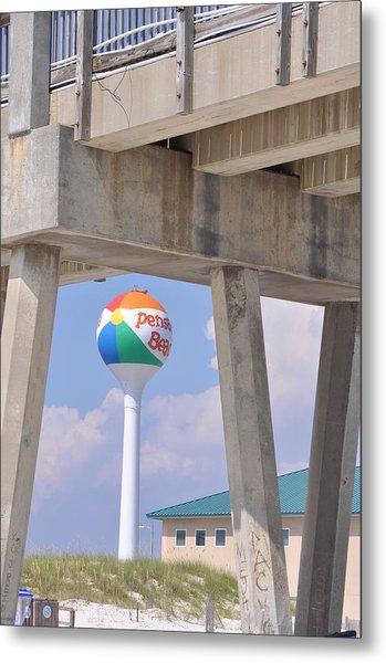 Pensacola Beach Ball And Pier Metal Print
