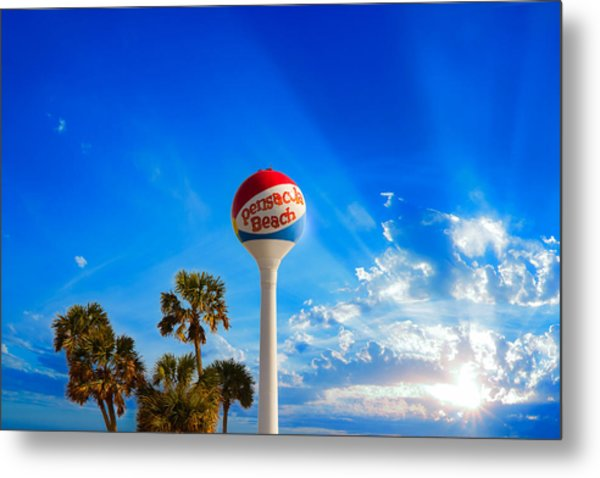 Pensacola Beach Ball Water Tower And Palm Trees Metal Print