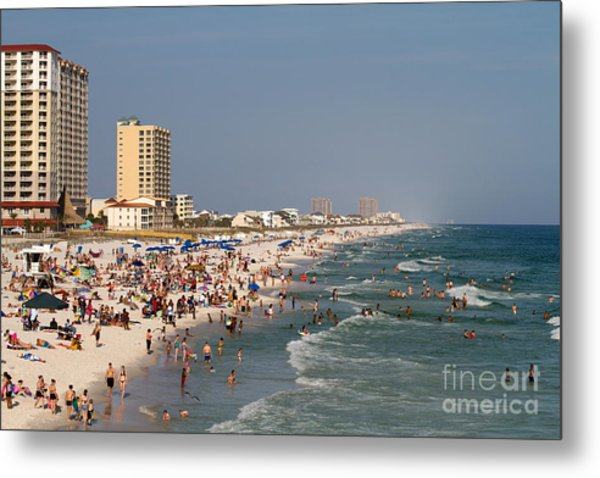 Pensacola Beach Tourists Metal Print