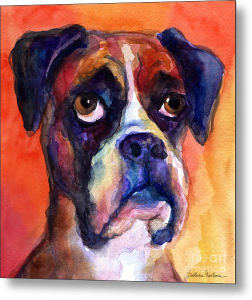 pensive Boxer Dog pop art painting Metal Print