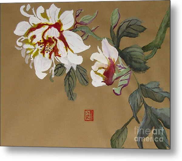 Peonies Chinese Watercolor Art Metal Print