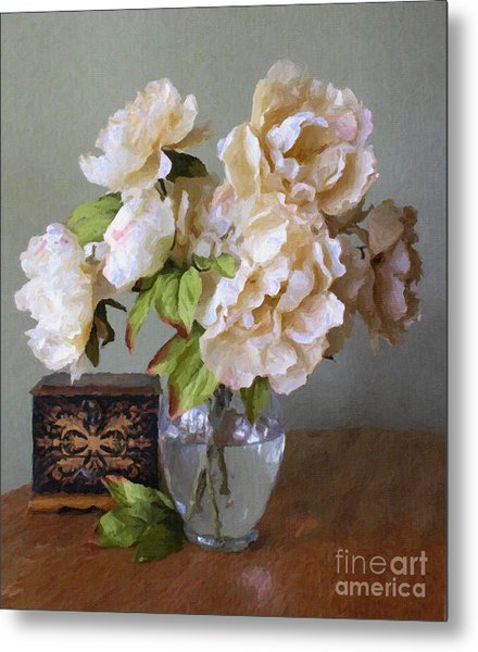 Peonies In Glass Vase Metal Print
