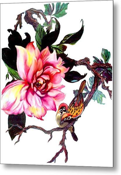 Peony And Birds Metal Print
