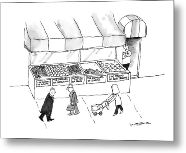 People Are Seen Walking Past A Produce Stand Metal Print
