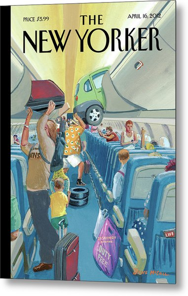 People On An Airplane Putting Various Items Metal Print