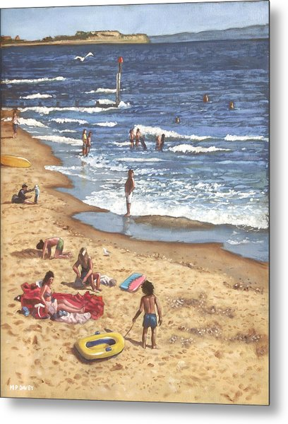 people on Bournemouth beach Blue Sea Metal Print