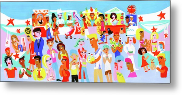 People Shopping And Eating In Vibrant Metal Print by Christopher Corr