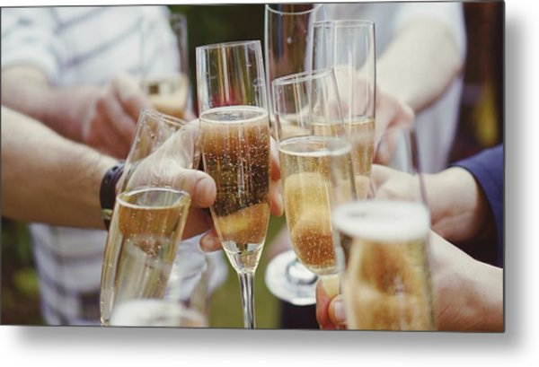 People Toasting With Champagne Flute Metal Print by Viktoria Rodriguez / Eyeem